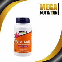 NOW Foods Folic Acid with Vitamin B-12 800mcg 250 Tablets | Heart Health Support