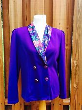 Vtg 70s 80s Purple Floral Blazer Pablo Collection Flowers on Collar Jacket