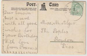 1910 DISS Norfolk skeleton pmk KEVII ½d birthday greetings PC local use