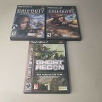 Lot Of 3 PS2 Games Call Of Duty Finest Hour /COD 2 Big Red One / Ghost Recon