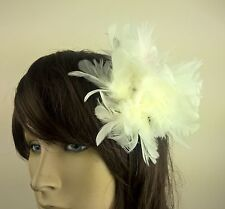 ivory feather flower fascinator millinery hair clip wedding piece ascot race