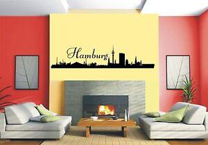 Wandaufkleber-Skyline Hamburg mit Schriftzug Hamburg- 7 Größen wählbar-460