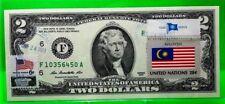 US $2 DOLLARS 2013 FEDERAL RESERVE NONE ATLANTA FLAG OF MALAYSIA GEM UNC