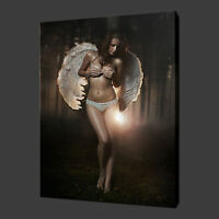ANGEL GIRL FOREST NUDE EROTIC SEXY CANVAS PRINT WALL ART PICTURE READY TO HANG