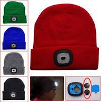 4LED Lighted Beanie Cap Hip Hop Men Women Knit Hat Hunting Camping Running Hat