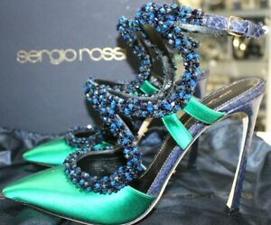 Sergio Rossi Green Satin Embellished Ankle Strap Scarpe Donna Slingback-Size 40