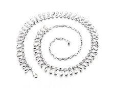donna argento strass cintura vita catena strass diamanti fibbia 731