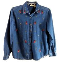 Classic Elements Womens Blouse Size Medium Denim Chambray Flowers Embroidery