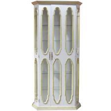 Unique White Italian Venetian Style Paint Decorated Display Cabinet Vitrine