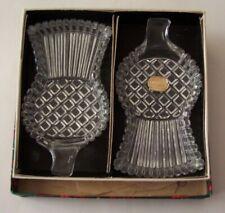 2 VINTAGE MID-CENTURY BOHEMIA CRYSTAL GLASS SCOTTISH THISTLE DISHES-PLAID BOX