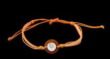 Bracelet bresilien Oeil de Sainte Lucie  resine cuir- Shiva - orange - BB 1006