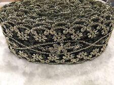 Lot 11Meters Pretty Flower Black Mesh Lace Trim Gold Fabric Sew Read Description