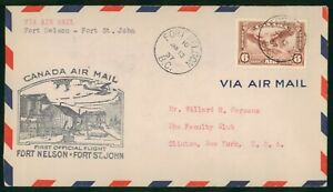 MayfairStamps 1937 Fort Nelson British Columbia to Fort St. John Canada First Fl