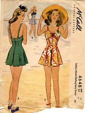 """Vintage 1940s McCall's Women's BATHING SUIT & TRUNKS 4648 Sz 12 Bust 30"""" USED"""