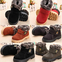 Winter Warm Child Kids Baby Boys Girls Leather Fur Snow Boots Sneakers Shoes UK
