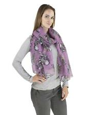 Women Flower Skull Scarf big over size Soft Long Scarves 70's Punk Style