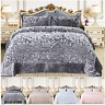 Luxury Fleece Bedspread Velvet Bedding Set Quilted Comforter Throw Double & King