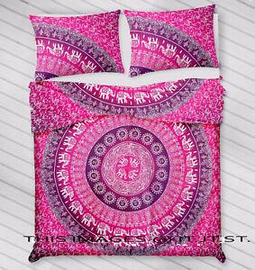 Indian Cotton Handmade Mandala Queen Ethnic Duvet Cover Two Pillow Cover Bedding