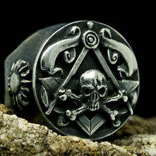 Masonic Ring Silver Skull Crossbones Gothic Mens Black Freemason Jewelry Biker