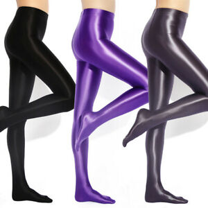 Plus Size Women's Shiny Wet Look Pantyhose Satin Glossy Opaque Tights Stockings