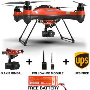 SwellPro Splash Drone 3+ w/ 4K Camera Gimbal Follow Me Unit and FREE Battery