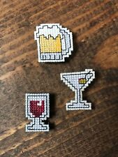 Handmade Cross Stitch Kitchen Magnets-Cocktails-Wine-Martini-Beer-Completed