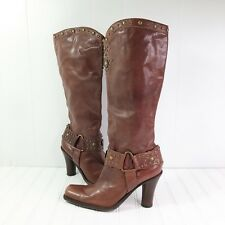 Antonio Melani Womens size 9 M Tall Boots Heel Brown Leather Gold Studded