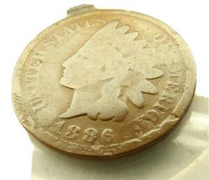 1886 TYPE 2 INDIAN HEAD PENNY COIN + FREE SHIPPING!