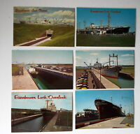 LOT OF 6 MASSENA NY NEW YORK  POSTCARDS EISENHOWER LOCK TUNNEL SHIPS  ETC