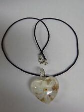 White Glass Heart Flower Pendant with Rope Braid Necklace (Length 56 cm)