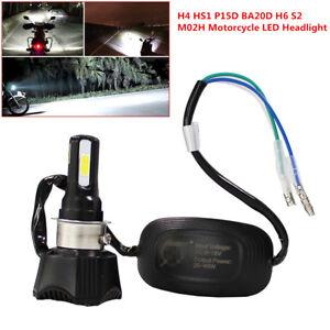 Motorcycle Headlight LED Bulb 4 COB 40W 4400LM H4 HS1 H6 Hi/Lo Beam High Power