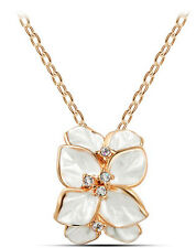 Elegant White & Gold Flower with Colourful Rhinestones Pendant Necklace N258