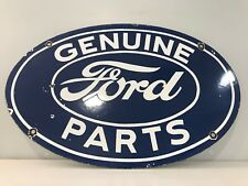 Vintage Ford Genuine Parts Porcelain Sign Steel Gas Oil Tough Trucks Dealership