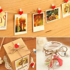 20Pcs Red Heart Mini Heart Wooden Pegs Photo Clips Cute Wedding Room Decor Craft