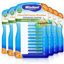 6x Wisdom GREEN Clean Between MEDIUM Rubber 20 Interdental Floss Plaque Brushes