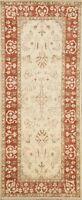 Ivory Floral Peshawar-Chobi Oriental Runner Rug Wool Hand-Knotted 3x6 ft Carpet