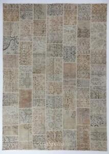 Handmade Patchwork Rug, Authentic Vintage Central Anatolian Carpet