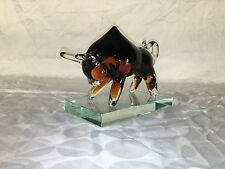 VINTAGE HAND BLOWN MURANO STYLE ART GLASS BULL ON BASE ANIMALS FIGURINE