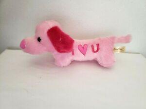 "Dan Dee Pink I Heart Love You Puppy Wiener Dog Stuffed Animal Plush 10"" Long"