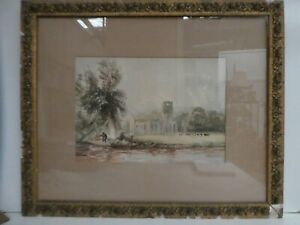 ANTIQUE WATERCOLOUR PAINTING FRAMED  RURAL SCENE COWS CHURCH RELIC