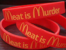 Animal Rights Veggie Vegan Meat is Murder Morrissey Smiths Charity, Wrist Bands.