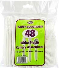 Weiß Plastik Besteck 48 Gabeln Messer und Löffel Einweg Party BBQ