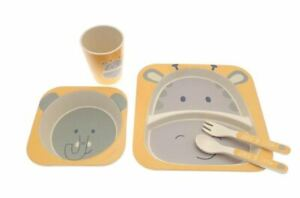 Children's Elli 5 Piece Kids Bamboo Dinner Set Natural Eco-Friendly Dishwash