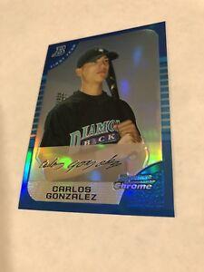 2005 BOWMAN 1st CHROME BLUE REFRACTOR CARLOS GONZALEZ RC /150