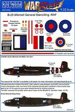 Kits World Decals 1/32 B-25 MITCHELL Roundels & Stencils for R.A.F. Aircraft