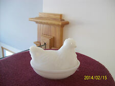 Hen's In A Basket Minature Opaque Milk Glass Hazel Atlas Glass Company