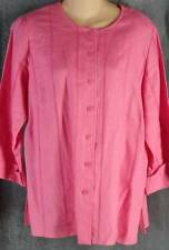 Laura Ashley M Bright Pink Linen Button Front Shirt Top