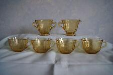 Federal Glass Madrid lot 4 cups sugar creamer amber yellow depression glass GUC
