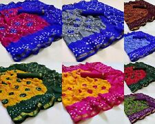 Silk Bandhej Saree Designer Bollywood Traditional Indian Wedding Sari Blouse New