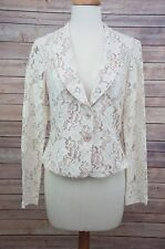 CABI Floral Lace Lacy Nude Beige Cut Out Jacket #715 Women's Sz 6